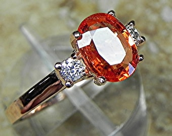 AAA 8x6mm 1.22 ct Natural Orange Sapphire  with .14 cts of Diamonds 14K Rose gold ring T86  1755