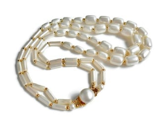 White Bead Necklace Vintage Double Strand with Gold Signed Hong Kong Matching Clasp Lightweight Oblong Plastic 19 in