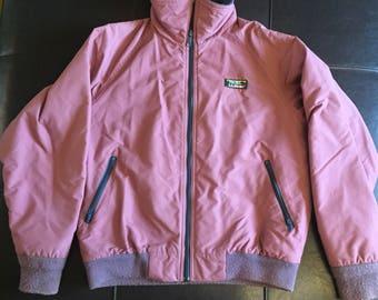 L.L. BeanRetro 1980's Pink and Blue Fleece Lined Jacket Coat Women's Medium