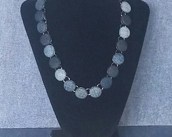 Denim  Bezel Necklace