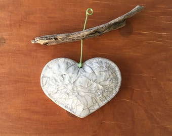 Ceramic raku heart with wood