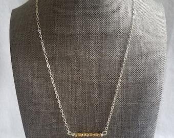Brass Bead Bar Necklace