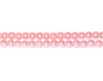 4mm Salmon Glass Pearl Bead, approx. 113 beads