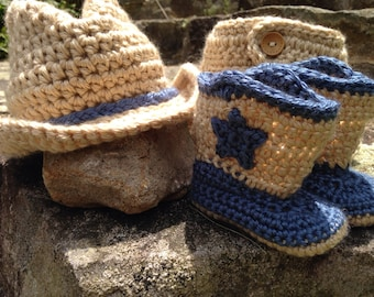Crochet cowboy hat and boots, newborn cowboy photo prop, cowboy diaper cover sets, gift set