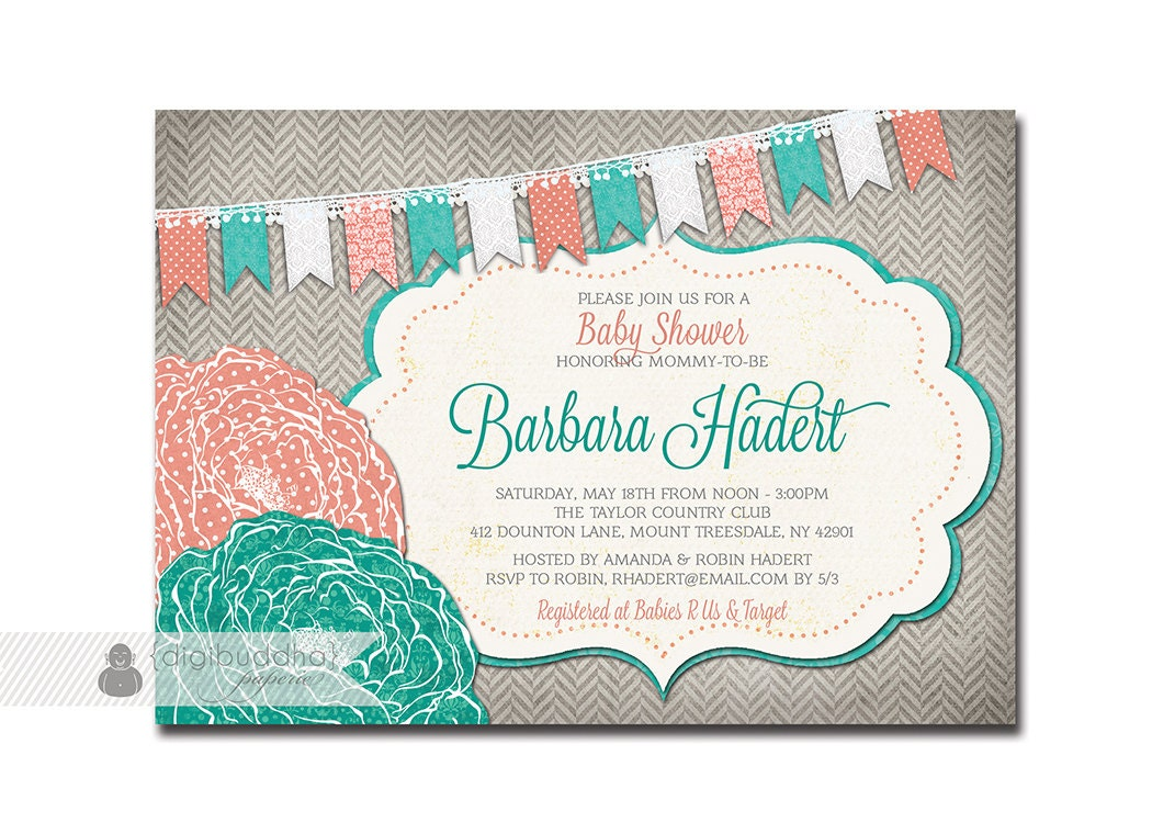Coral And Teal Wedding Invitations: BABY SHOWER INVITATION Coral Turquoise Teal Aqua Gray Flower