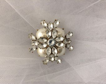 Antique pearl and rhinestone veil or bouquet  accessory