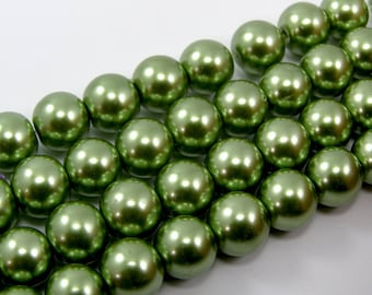 Beads 10 mm glass Pearl lime green set of 5