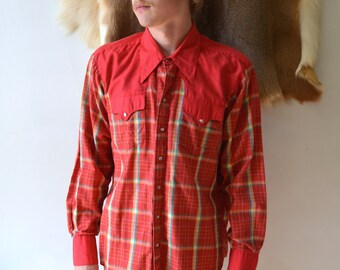 Vintage Rockmount Western Shirt/ Pearl Snap Up/ Ranch Wear/ X Large