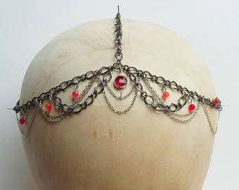 Crimson Glass and Agate Festival Boho Head Chain