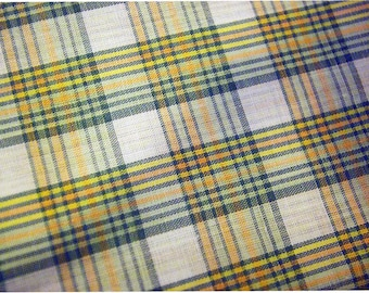 Vintage yarn dyed shirting fabric plaid green and yellow on off white quality cotton poly blend