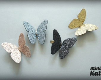 mini Katie Gentle Glitter Butterfly Hair Barrette, Hair Clip for baby girls Toddlers 2016
