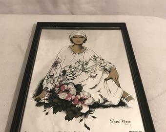 Old drawing wife SARA MOON + Vintage black frame mirror