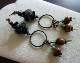 Black Link with Leaf Jasper Keshi Pearls and Hand Antiqued Solid Brass Paddle Earrings