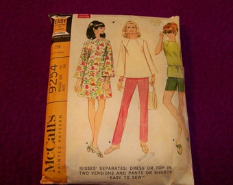 """Vintage 1968 McCall's Pattern - 9254 - Misses Separates: Dress Or Top In Two Versions And Pants Or Shorts - Size 16 - """"Easy To Sew''"""