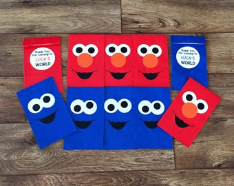 Personalized Sesame Street Birthday Party Favor Bags, Elmo Birthday Party, Sesame Street Treat Bags, Cookie Monster Party