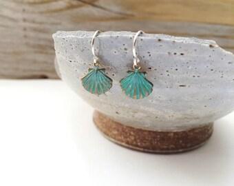 Verdigris Sea Shell Earrings