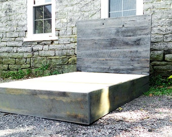 FREE SHIPPING! Modern Platform Bed in Weathered Grey Barn Wood