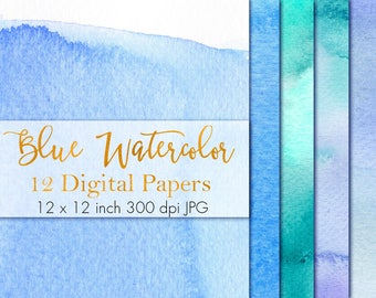 Blue Watercolor Digital Paper, Watercolor Paint Texture, Watercolor pattern, Watercolor paper pack, Watercolor clipart, Instant download