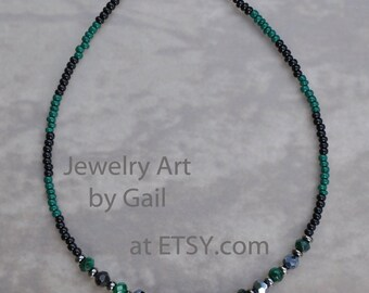 Green and Black Crystal Beaded Anklet