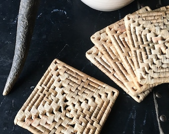Set of five vintage woven grass square drink coasters, Boho