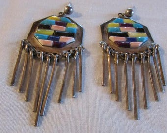 Sterling Silver Handmade Earrings with Colorful Inlay and Silver Dangles