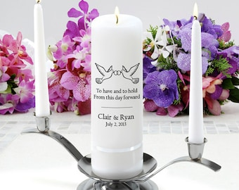 Personalized Wedding Unity Candle Set - To have and to hold - GC330 CP10