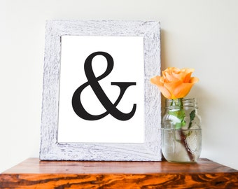 "Ampersand, Black and White 8""x10"" Instant Download Print"