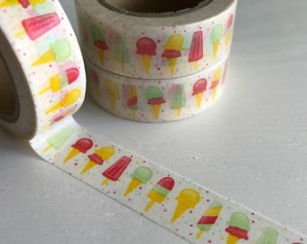 Ice Cream Cone and Popsicle Washi Roll