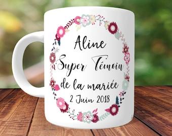 MUG SUPER TÉMOIN -  personnalisé Recto/Verso, mug personnalisé,tasse personnalisée,mug prénom,tasse cadeau témoin, mug témoin mariage