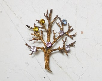Signed Sterling Tree  Life Brooch with Multi Colored Rhinestones Vintage Grandmother Mother Family Brooch Gold Overlay