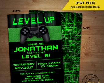 Level Up Video game birthday party invitation game on invite gaming party games truck green YOU EDIT TEXT and print yourself invite 5734