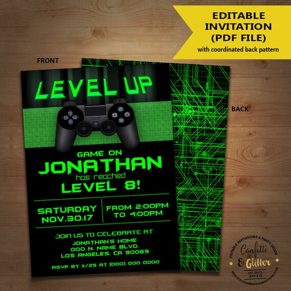 Level Up Video game birthday party invitation game on invite