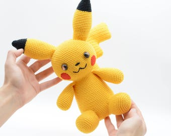 Pokemon pikachu, crochet monster, stuffed pokemon, amigurumi pikachu, Birthday pokemon, yellow toy pikachu, children's gift
