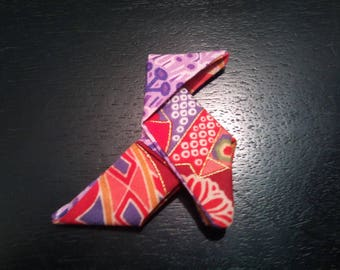 """cocotte"" Purple, pink and Red origami brooch"