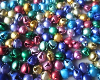 x 20 mixed charms small bells of different colored 8 x 6 mm