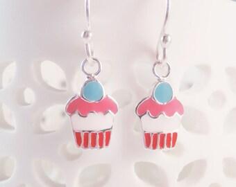 sterling silver cup cake earrings, enamelled cake earrings, pop art earrings, cup cake earrings, cake earrings, gift for daughter
