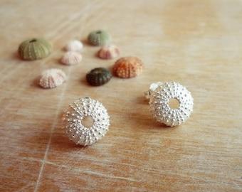Sterling Silver Sea Urchin Stud Earrings - Small Size Sea Urchins