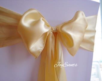 25x Light Gold Chair Sashes Chair Bows Cover for Wedding Engagement 50th Anniversary Event Party Reception Ceremony Bouquet Chair Decoration