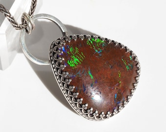 Silver Opal Necklace - Sterling Silver Australian Boulder Opal necklace with Butterfly - opal butterfly necklace - Sterling Opal pendant