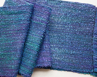 """Handwoven,  Hand-dyed Silk Boucle Scarf - Deep Blues  67""""x7.25"""""""
