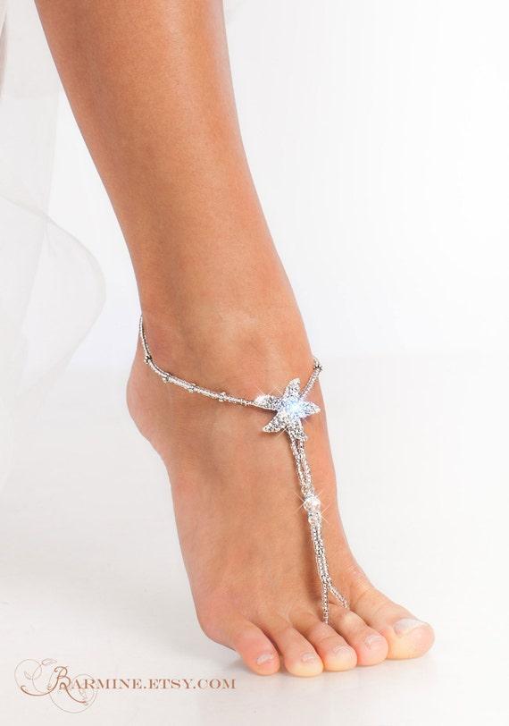 of Matching set barefoot jewelry Maid barefoot Starfish sandal Honor bridal party Beach foot of wedding thong sandals Bridesmaid Bridal CC5xrqzd