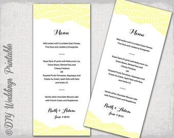 "Wedding menu template -""Vine"" lemon yellow wedding menu -DIY wedding menu template, digital printable menu -EDITABLE instant download"