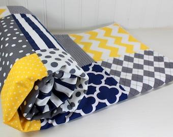 Minky Baby Blanket, Baby Shower Gift, Nursery Decor, Nursery, Baby Blanket, Baby Quilt, Baby Boy, Navy Blue, Navy, Gray, Grey, Yellow, White