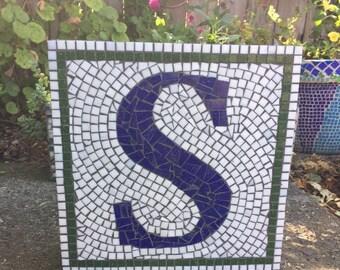 Monogram Mosaic Glass Tile Custom Designed Garden Stepping Stone