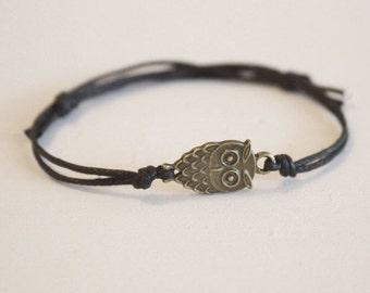 Owl Bracelet or Anklet in Antique Brass, Bronze Owl Bracelet, Animal Bracelet, Woodland Jewelry, Gift For A Child, BFF, Best Friend Gift