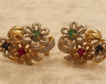14K yellow gold diamond and multi color stone cluster earrings