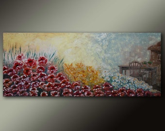 FREE SHIPPING-When flowers bloom in Greece-Original art landscape oil painting on canvas by EMMANOUELA-Size:100x40cm (39.4''x15.7'')