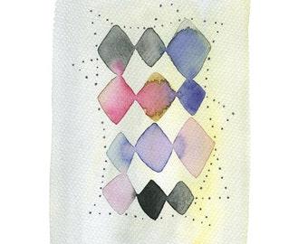 Geometric abstract original painting, Diamond shape pattern watercolor painting, Modern contemporary art, Geometric Watercolor, Unique Art
