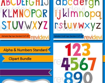 ABC Alphabet and numbers standard clipart bundle / commercial use clip art / uppercase, lowercase letters digital images