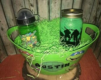 Ninja Turtle Gift Basket, Ninja Turtle Easter Basket, Custom Gift Basket, Ninja Turtle Gift Set, Personalized, Ninja Turtle, Nightlight, Cup